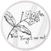 True Forget-me-not Round Beach Towel