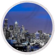 True To The Blue In Seattle Round Beach Towel