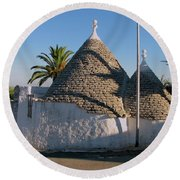 Trullo, Ostuni, Puglia Round Beach Towel