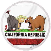 Trump And California Face Off Round Beach Towel