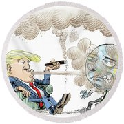 Trump And The World On Climate Round Beach Towel