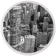 Trump Tower And John Hancock Aerial Black And White Round Beach Towel by Adam Romanowicz