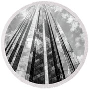 Trump Tower New York City Black And White Round Beach Towel