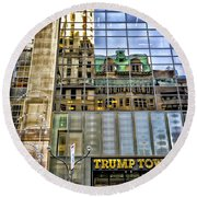 Round Beach Towel featuring the photograph Trump Tower With Reflections by Walt Foegelle