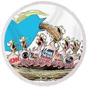 Trump Twitter And Tv News Round Beach Towel