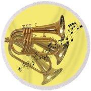 Trumpet Fanfare Round Beach Towel