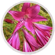 Trumpet Flowers Round Beach Towel by Lewis Mann
