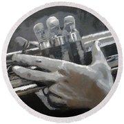 Trumpet Hands Round Beach Towel