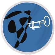 Trumpet In Blue Round Beach Towel by David Bridburg