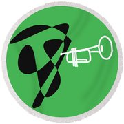 Trumpet In Green Round Beach Towel by David Bridburg