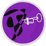 Trumpet In Purple Round Beach Towel by David Bridburg