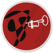 Trumpet In Orange Red Round Beach Towel by David Bridburg