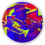 Trumpet Player Pop-art Round Beach Towel