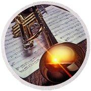 Trumpet With Sunset Round Beach Towel