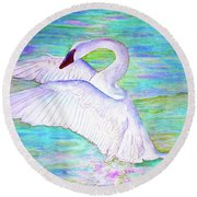 Trumpeter Swan Round Beach Towel by Janet Immordino