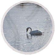 Trumpeter Swan Yellowstone Round Beach Towel