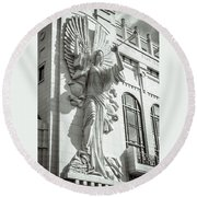 Round Beach Towel featuring the photograph Trumpeting Angel by Guy Whiteley