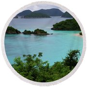Round Beach Towel featuring the photograph Trunk Bay At U.s. Virgin Islands National Park by Jetson Nguyen