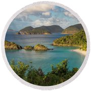 Round Beach Towel featuring the photograph Trunk Bay Morning by Adam Romanowicz