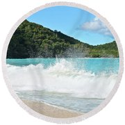Round Beach Towel featuring the photograph Trunk Bay Waves Crash Hard by Frozen in Time Fine Art Photography