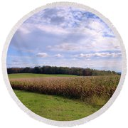 Trusting Harvest Round Beach Towel