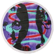 Round Beach Towel featuring the painting Trying To Change The Whole Wide World by Jayime Jean