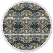 Tsunami Mirror Pattern Round Beach Towel