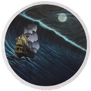 Tsunami Ship Round Beach Towel