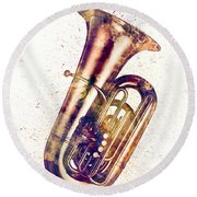 Tuba Abstract Watercolor Round Beach Towel