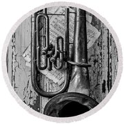 Tuba And Music On Door In Black And White Round Beach Towel