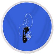 Tuba In Blue Round Beach Towel by David Bridburg