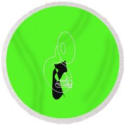 Tuba In Green Round Beach Towel by David Bridburg