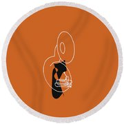 Tuba In Orange Round Beach Towel by David Bridburg