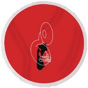 Tuba In Red Round Beach Towel by David Bridburg