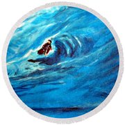 Tube Riding The Banzai Pipeline Round Beach Towel