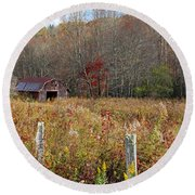 Round Beach Towel featuring the photograph Tucked Away - Barns by HH Photography of Florida