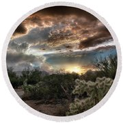 Tucson Mountain Sunset Round Beach Towel