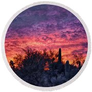 Tucson Sunrise Round Beach Towel