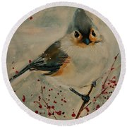 Tufted Blue Titmouse Round Beach Towel