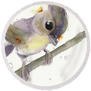 Round Beach Towel featuring the painting Tufted Titmouse by Dawn Derman