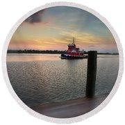 Tug Boat Sunset Round Beach Towel