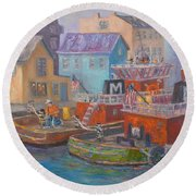 Tug Boats Portsmouth Maritime Painting Round Beach Towel