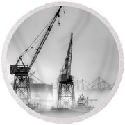 Tug With Cranes Round Beach Towel