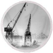 Tug With Cranes Round Beach Towel by Joe Schofield