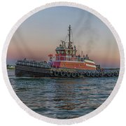 Tugboat Buckley Mcallister At Sunset Round Beach Towel by Brian MacLean