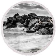 Tugboat Cove Round Beach Towel