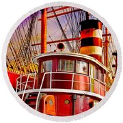 Tugboat Helen Mcallister Round Beach Towel by Chris Lord