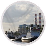 Tugs Round Beach Towel