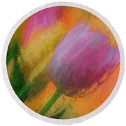 Tulip Abstraction Round Beach Towel