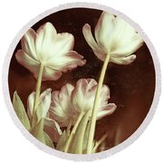 Round Beach Towel featuring the digital art Tulip Backsides by Bonnie Willis